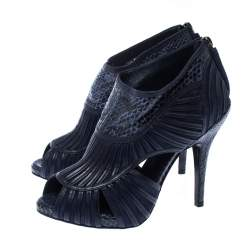 Dior Blue Python Leather Cut Out Ankle Booties Size 36
