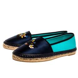 Dior Two Tone Satin Embroidered Slip On Espadrille Flats Size 38