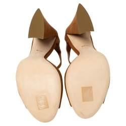 Dior Brown Suede Escale Block Heel T Strap Sandals Size 41