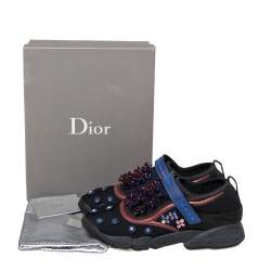Dior Black/Blue Stretch Fabric Fusion Embellished Low Top Sneakers Size 41