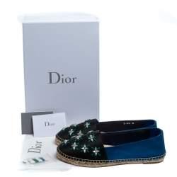 Dior Black/Blue Canvas Embellished Riviera Flat Espadrilles Size 40