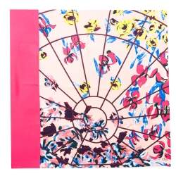 Dior Multicolor Floral Printed Silk Square Scarf