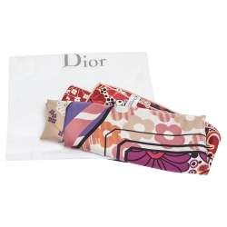 Dior Pink Abstract Floral Printed Silk Twill Square Scarf