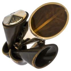 Dior Aged Brass Tone Chester Cocktail Ring Size EU 54.5