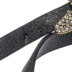 Christian Dior Crystal Bee Leather Double Wrap Bracelet