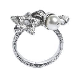 Dior Silver Tone Bow, Crystal Star & Faux Pearl Charm Ring L