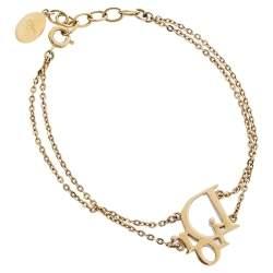 Dior Crystal Oblique Charm Double Chain Bracelet