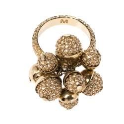 Dior Mise en Dior Crystal Embellished Gold Tone Ring M
