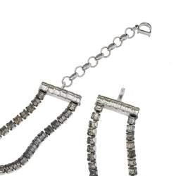 Dior Enamel Crystal Embellished Silver Tone Choker Necklace Adjustable