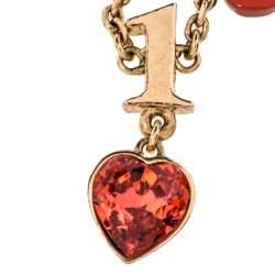 Dior Logo Charm Crystal Resin Gold Tone Necklace Adjustable