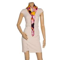 Dior Pink Floral Print Silk Scarf