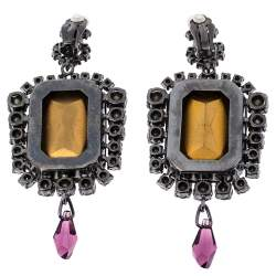 Dior Vintage Purple Crystal Drop Clip On Earrings