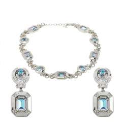 Dior Vintage Silver Tone Iridescent Crystal Necklace and Clip-On Earrings Set