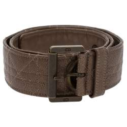Dior Brown Textured Cannage Leather Grommet Buckle Belt 90CM