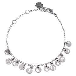 Dior Silver Tone Logo Cut Out Charm Bracelet