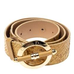 Dior Beige Python Leather Bamboo Detain Buckle Belt 80CM
