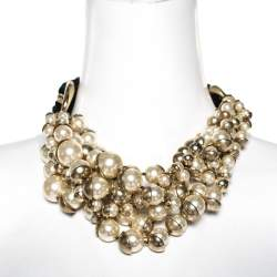 Dior Mise en Dior Faux Pearl Gold Tone Statement Necklace