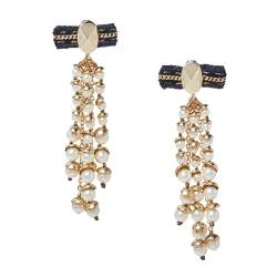 Dior Faux Pearl Gold Tone Long Drop Earrings