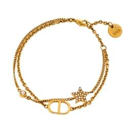 Dior Petit CD Crystal Star Charm Double Chain Bracelet
