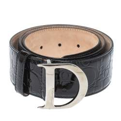 Dior Black Patent Leather D Buckle Belt 85CM