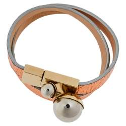 Dior Metallic Copper Leather Mise En Dior Double Wrap Bracelet S