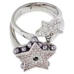 Dior Double Star Crystal and Bead Cocktail Ring Size EU 57