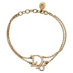 Dior Gold Tone Crystal Logo Double Chain Bracelet