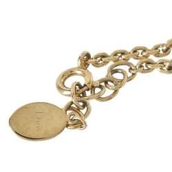 Dior Gold Tone Crystal Pavé Pop Heart Charm Bracelet
