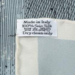 Dior Pale Blue Zodiac Print Silk Scarf