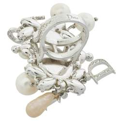 Dior Silver Tone Crystal and Faux Pearl Logo Charm Cocktail Ring L