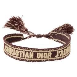 Dior Burgundy J'adior Woven Friendship Bracelet