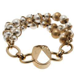 Dior Mise En Dior Faux Pearl Gold Tone Bracelet
