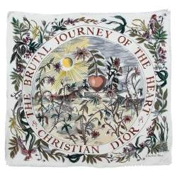 Dior White The Brutal Journey Of The Heart Print Silk Square Scarf