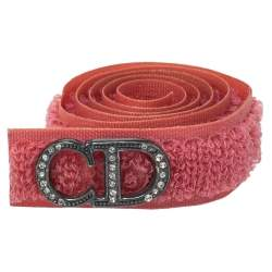 Dior Coral Pink Crystal Logo Velcro Choker Necklace