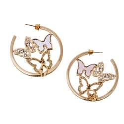 Dior Pink Mother of Pearl Butterfly Crystal Gold Tone Hoop Earrings