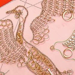 Dior Pink & Orange Bird Logo Charm Silk Square Scarf