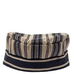 Dior Navy Blue & Beige Striped Cotton Bayadère Newsboy Hat