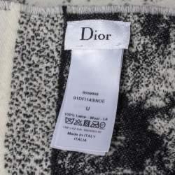 Dior Monochrome Toile de Jouy Fringed Wool Shawl