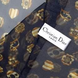 Christian Dior Navy Blue Printed Silk Stole