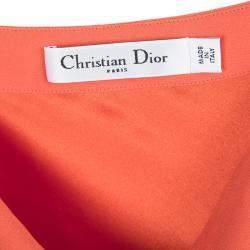 Dior Orange Silk Cowl Neck Sleeveless Dress M