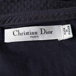 Dior Navy Blue Textured Sleeveless Belted Dress M