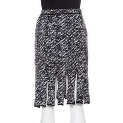 Christian Dior Monochrome Wool Blend Fringed Car Wash Skirt S