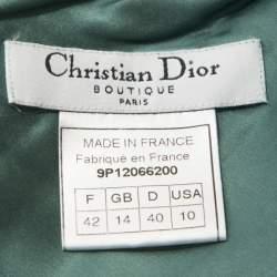 Christian Dior Teal Crepe Contrast Lace Insert Slip Dress L