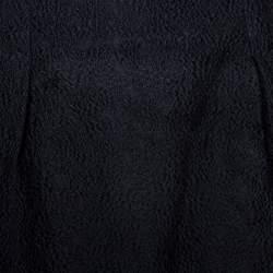Dior Black Floral Embossed Cotton Silk Flared Skirt M