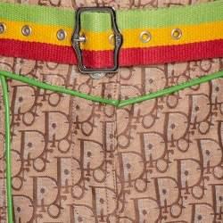 Dior Beige Diorissimo Jacquard Leather Trim Belted Skirt L