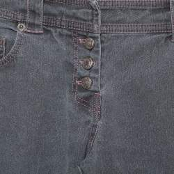 Christian Dior Grey Denim Paneled Straight Leg Jeans S