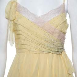 Christian Dior Yellow Embellished Silk Lace Detail Mini Dress S
