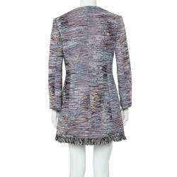 Christian Dior Multicolor Textured Cotton Frayed Hem Dress Coat M