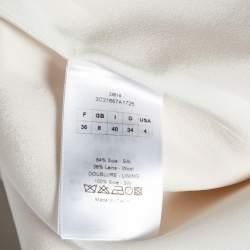 Christian Dior Cream Silk & Wool Pleated Neck Detail Shift Dress S