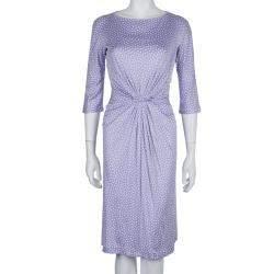 Dior Lavender Polka Dot Long Sleeve Dress M